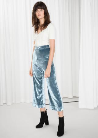 Pantalon taille haute zippé en velours