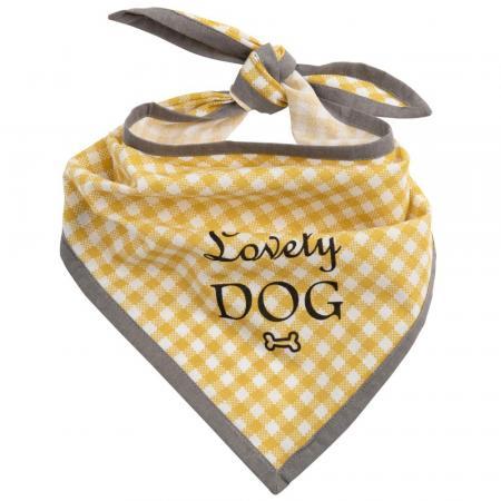 Hondensjaaltje van geel katoen met vichyprint