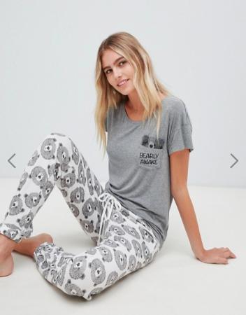 Grijze pyjama met beren