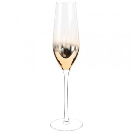 Set van 6 champagneglazen met verguld schakerend glas