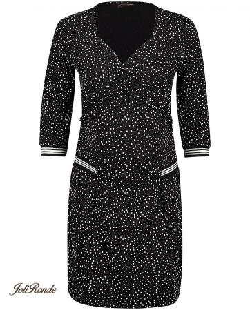 Zwarte jurk met polkadotprint