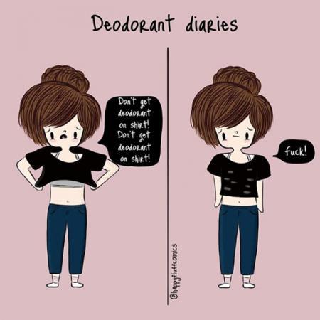 15. Je moet je uiterste best doen om geen deodorantvlekken achter te laten op je zwart T-shirt
