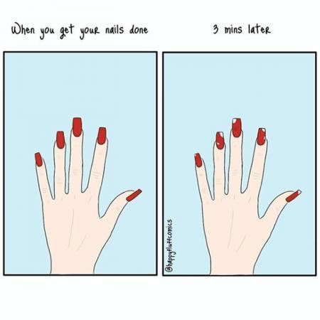 8. Nagellak blijft amper vijf minuten op je nagels
