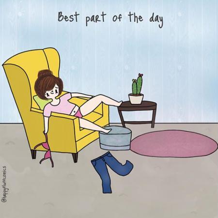 4. Het beste moment van de dag is wanneer je eindelijk je broek mag uit doen.