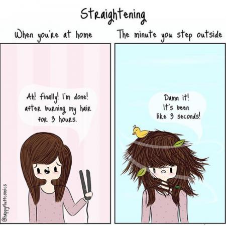 3. Je haar is stijl… tot je de deur uitgaat