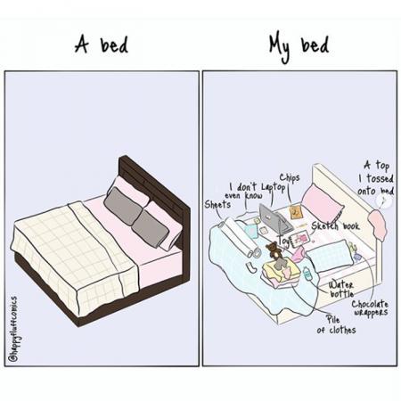 1. Je bed is een verzamelplaats van prullen