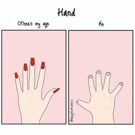 2. Jouw hand ziet er altijd véél kleiner en minder elegant uit dan dat van anderen