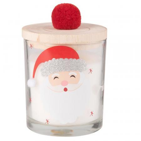 Geurkaars in glas met kerstmanprint en deksel
