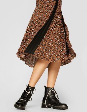 Bruine plissérok met luipaardprint