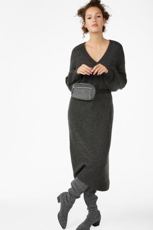Midi-jurk met V-hals