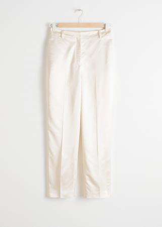 Pantalon slim blanc en satin
