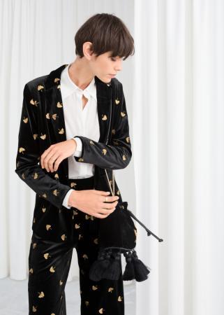Zwarte blazer met goudkleurige blaadjes