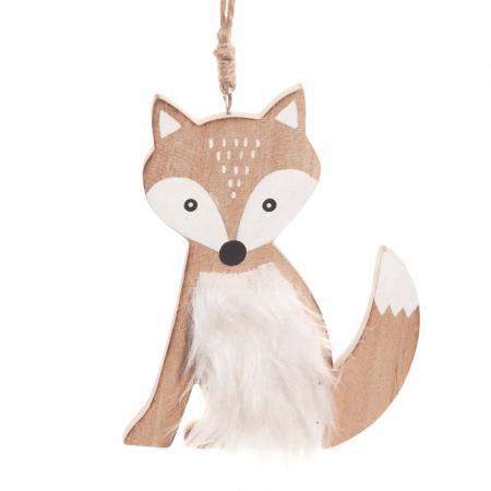 Kersthanger vosje met witte imitatiebont