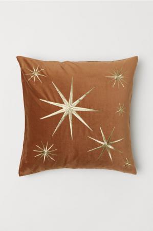 Fluwelen kussenhoes met gouden sterren