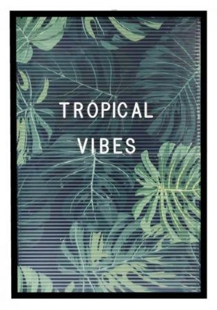 Transparant letterbord met tropische print