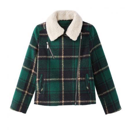 Blouson en laine mélangée motif tartan