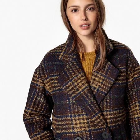 Manteau ample à carreaux
