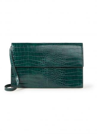 Smaragdgroene crossbody bag met crocomotief