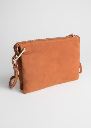 Cognackleurige crossbody bag met rits
