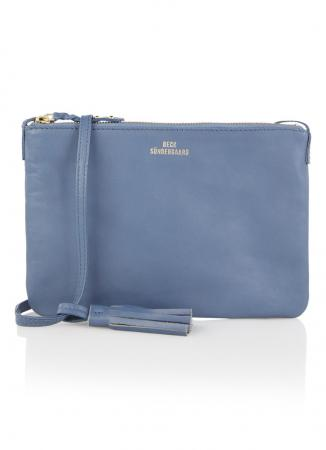Grijsblauwe crossbody bag met rits