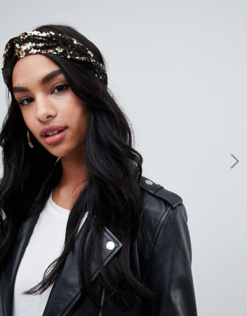 Geknoopte haarband met zwarte en goudkleurige pailletten