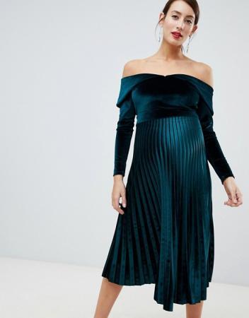 Zwangerschapsjurk met velvet top en plissérok