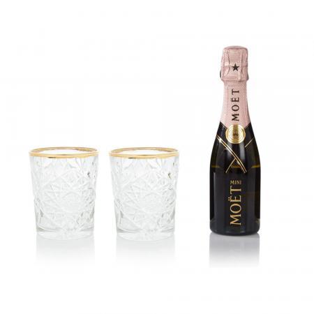 Set glazen en flesje champagne