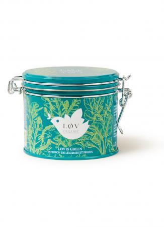 Blik met losse groene thee