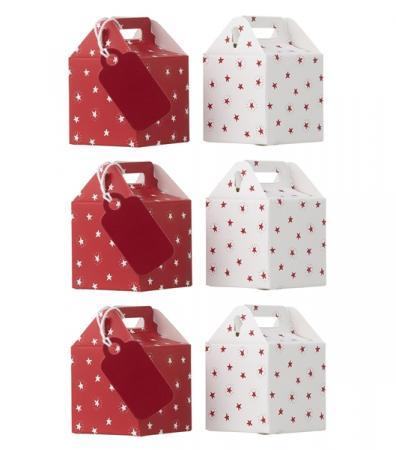 6-pak cadeaudoosjes in rood en wit