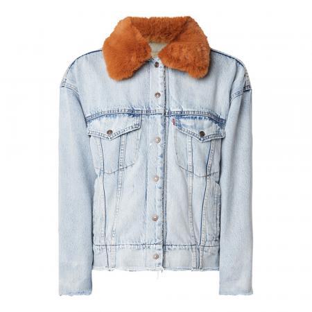Stoer jeansjasje met fluffy kraag