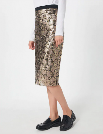 Champagnekleurige rok met print