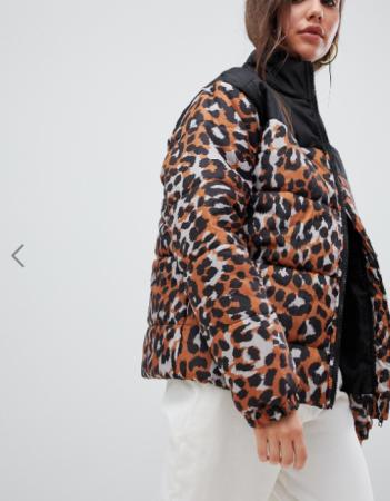 Puffer jacket met luipaardprint