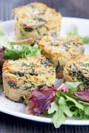 2. Miniquiches met aardappel en spinazie