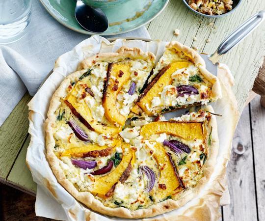 Vrijdag: quiche met pompoen, wortel, spinazie en kruiden
