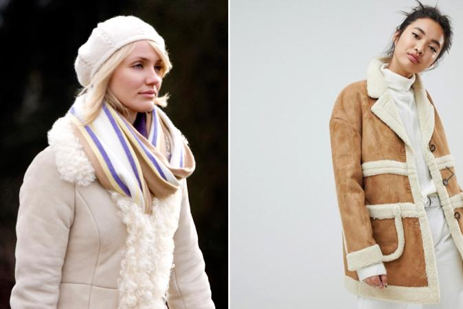Mantel met schapenvacht zoals Amanda uit 'The Holiday'