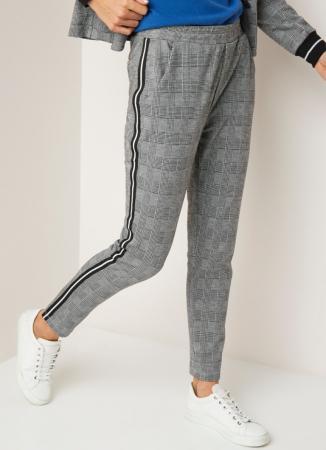 Grijze sweatpants met ruitjes en zwart-witte streep