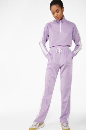 Lila sweatpants met witte streep