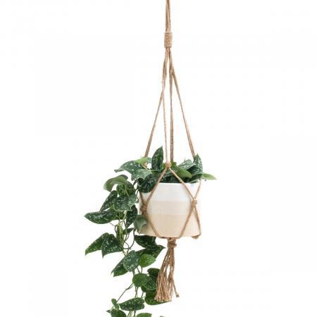 Plantenhanger in wit en ecru
