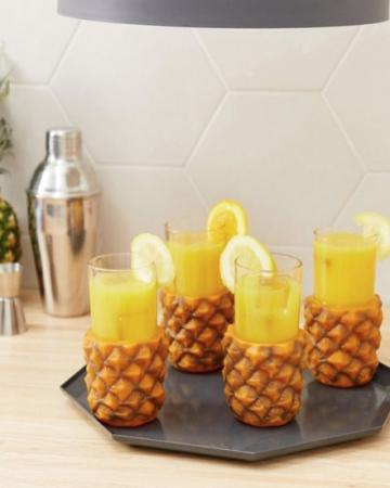 Set van 4 retro ananasglazen