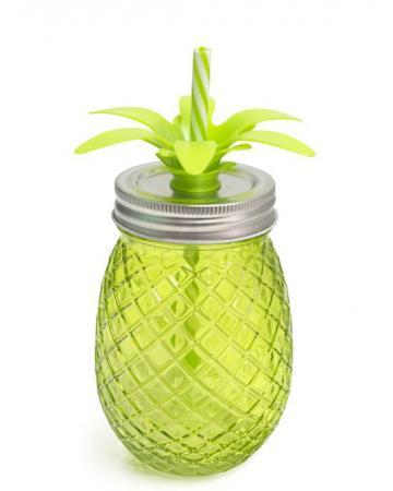 Ananasglas met rietje