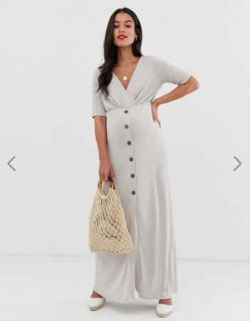 Grijze maxi-jurk met knopen