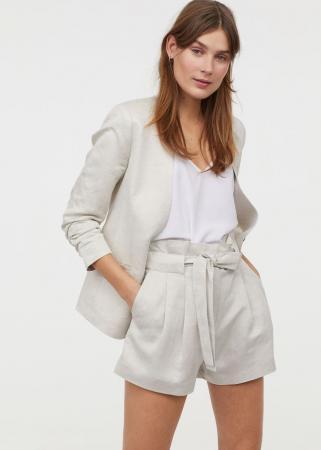 Short suit uit linnenmix