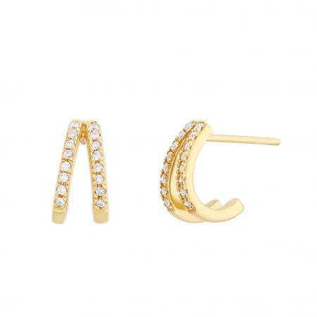 Boucles d'oreilles en or jaune incrustées de pierres blanches