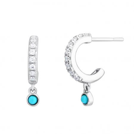 Petites boucles d'oreilles avec détails en turquoise