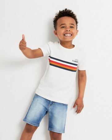 Wit T-shirt 'Little Flandrien' met strepen