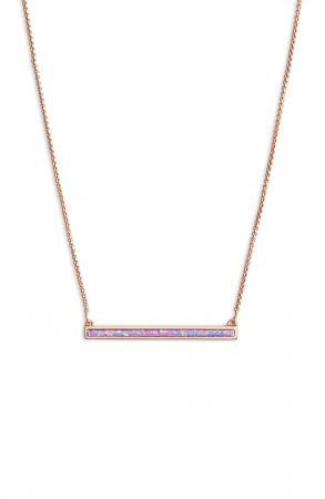 Vergulde halsketting van 14 karaat met balkje uit synthetisch opaal