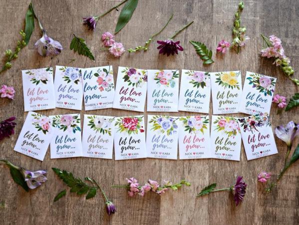 Gepersonaliseerde zakjes met bloemzaad