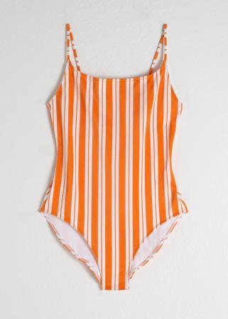 Oranje-wit gestreept badpak