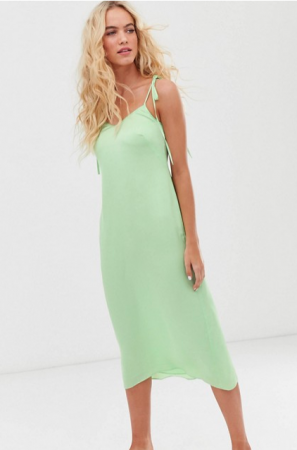 Muntgroene slip dress