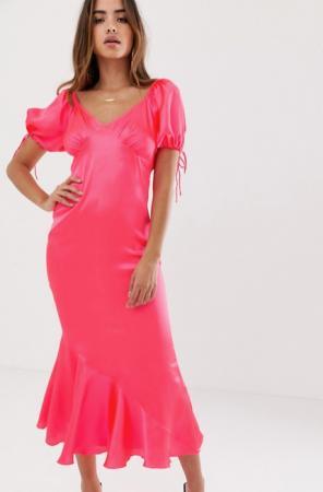 Fluoroze midi-jurk met korte mouwen
